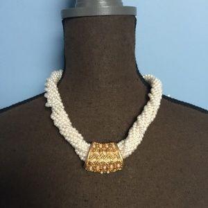 Vintage Faux Pearl Twist Necklace